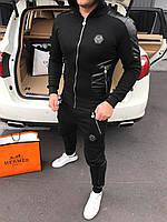 Мужской черный зимний спортивный костюм Philipp Plein (реплика)