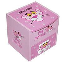 """Шкатулка  детская """"Розовая пантера"""" голубая, деревянная Размер: 11-11-11 см."""