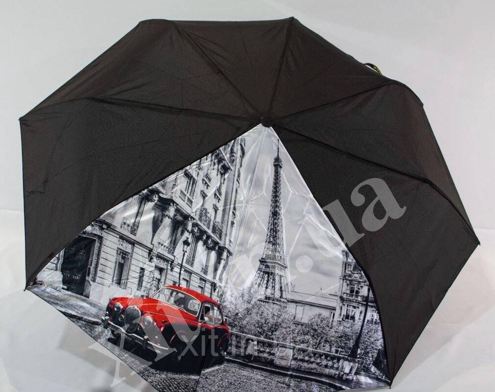 Черный женский зонтик с рисунком