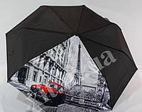 Черный женский зонтик с рисунком, фото 1