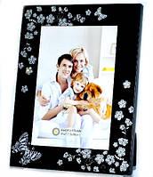 Рамка для фотографий черная металлическая с бабочками и цветами 23х18 см