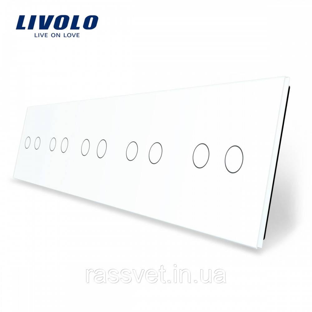 Лицьова панель для сенсорного вимикача Livolo 10 каналів колір білий (VL-C7-C2/C2/C2/C2/C2-11)