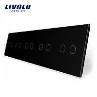 Лицевая панель для сенсорного выключателя Livolo 10 каналов цвет черны (VL-C7-C2/C2/C2/C2/C2-12)