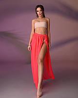 Пляжная юбка, цвет - неоновый коралл.