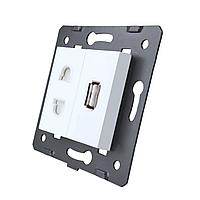 Модуль силовой универсальной розетки и USB розетки Livolo цвет белый (VL-C7-C1A1USB-11)