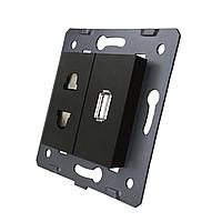 Модуль силовой универсальной розетки и USB розетки Livolo цвет черный (VL-C7-C1A1USB-12)