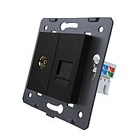 Модуль телевизионной и компьютерной розетки Livolo цвет черный (VL-C7-1V1C-12)