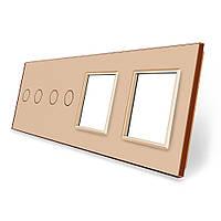 Лицевая панель для двух сенсорных выключателей и розеток Livolo золотая стекло (VL-C7-C2/C2/SR/SR-13)