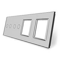Лицевая панель для двух сенсорных выключателей и розеток Livolo цвет серый стекло (VL-C7-C2/C2/SR/SR-15)