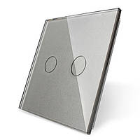 Лицевая панель для сенсорного выключателя Livolo 2 канала, цвет серый, материал стекло (VL-C7-C2-15)
