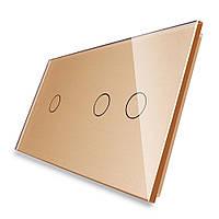 Лицевая панель для сенсорного выключателя Livolo 3 канала (1+2), цвет золот, стекло (VL-C7-C1/C2-13)