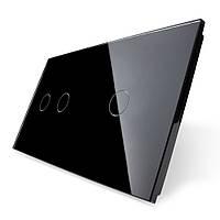 Лицевая панель для сенсорного выключателя Livolo 3 канала (2+1), цвет черный, стекло (VL-C7-C2/C1-12)
