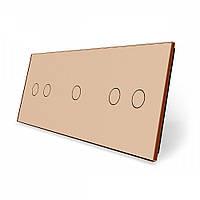 Лицевая панель для сенсорного выключателя Livolo 5 каналов (2+1+2) золотая (VL-C7-C2/C1/C2-13)