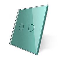 Лицевая панель для сенсорного выключателя Livolo 2 канала, цвет зеленый, материал стекло (VL-C7-C2-18)