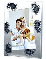 Рамка для фотографий металлическая со стразами 23х18 см