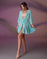 Туника пляжная короткая с воланом 201, цвет - мятный.