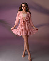 Туника пляжная короткая с воланом 201, цвет - пудра.
