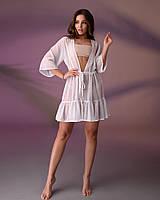 Туника пляжная короткая с воланом 201, цвет - молочно-белый.