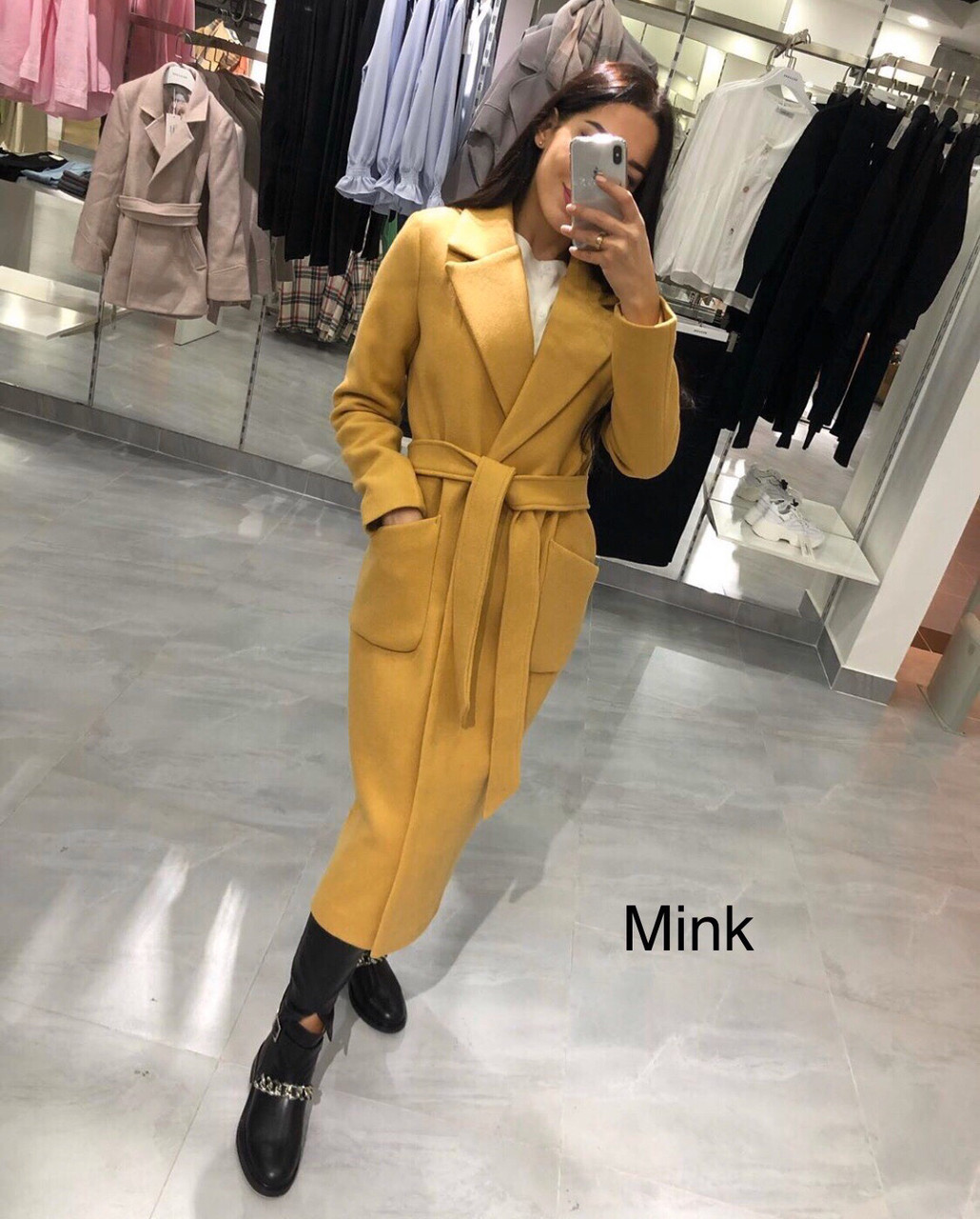 Пальто женское кашемировое демисезонное горчица, бежевое, тёмно-синее, серое, розовое, С М Л