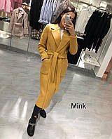 Пальто женское кашемировое демисезонное горчица, бежевое, тёмно-синее, серое, розовое, С М Л, фото 1