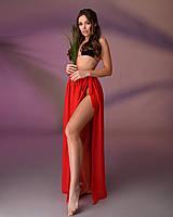Пляжная юбка, цвет - красный.
