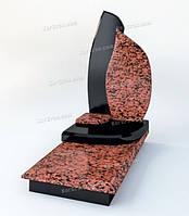 Комбинированный памятник из гранита красный с черным в форме капли