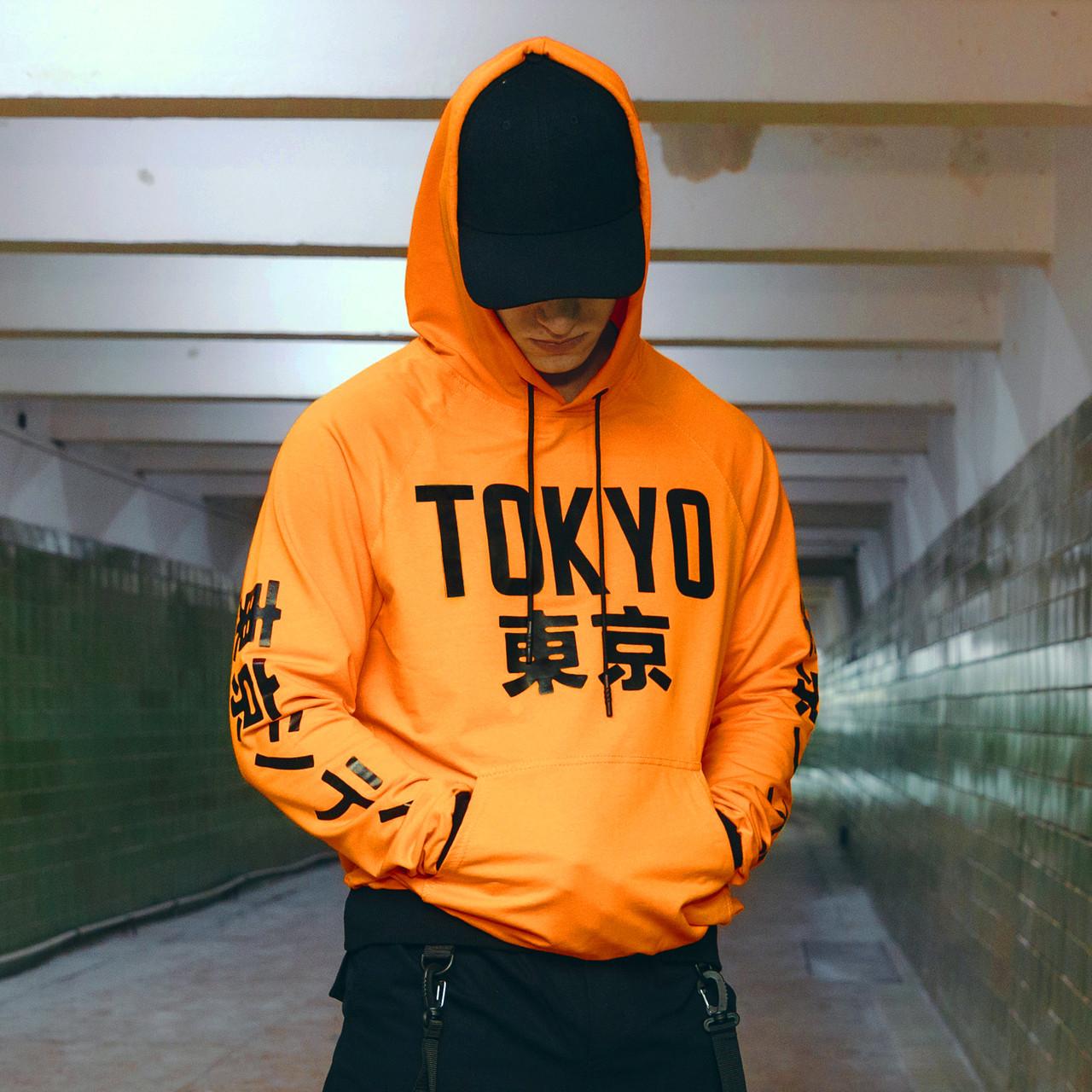 Худи оранжевое мужское Токио
