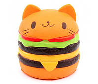 Игрушка сквиш Гамбургер большой | Мягкая игрушка-антистресс | Squishy Котик Гамбургер