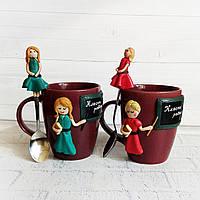 Подарок учительнице (учителю) на 8 марта Чашка с ложкой с декором из полимерной глины