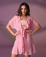 Короткая пляжная туника 206, цвет - нежно-розовый.