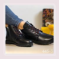 Женские демисезонные ботинки натуральная черная кожа, красные шнурки, фото 1