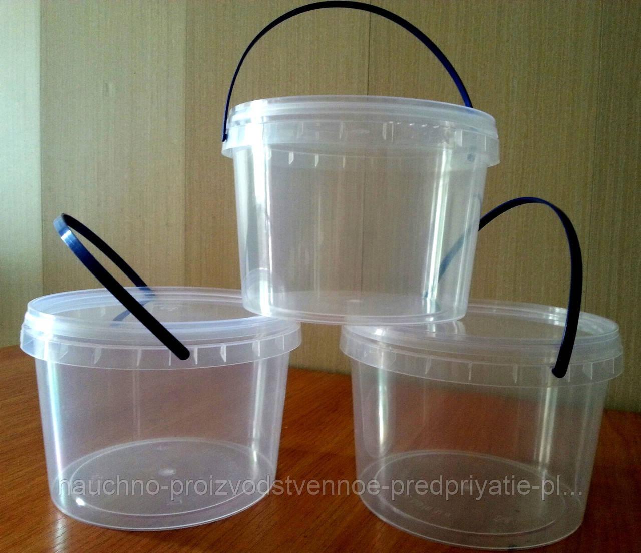 Ведро пластиковое пищевое с крышкой 2.3 литр