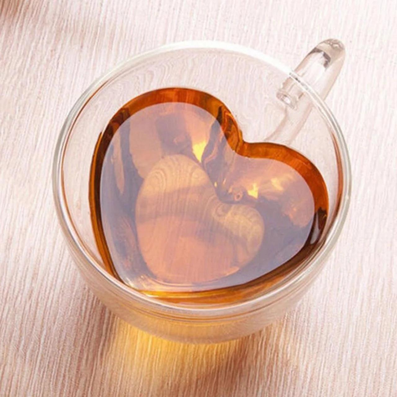 Кружка стеклянная Сердце с двойным дном и стенками 150 мл