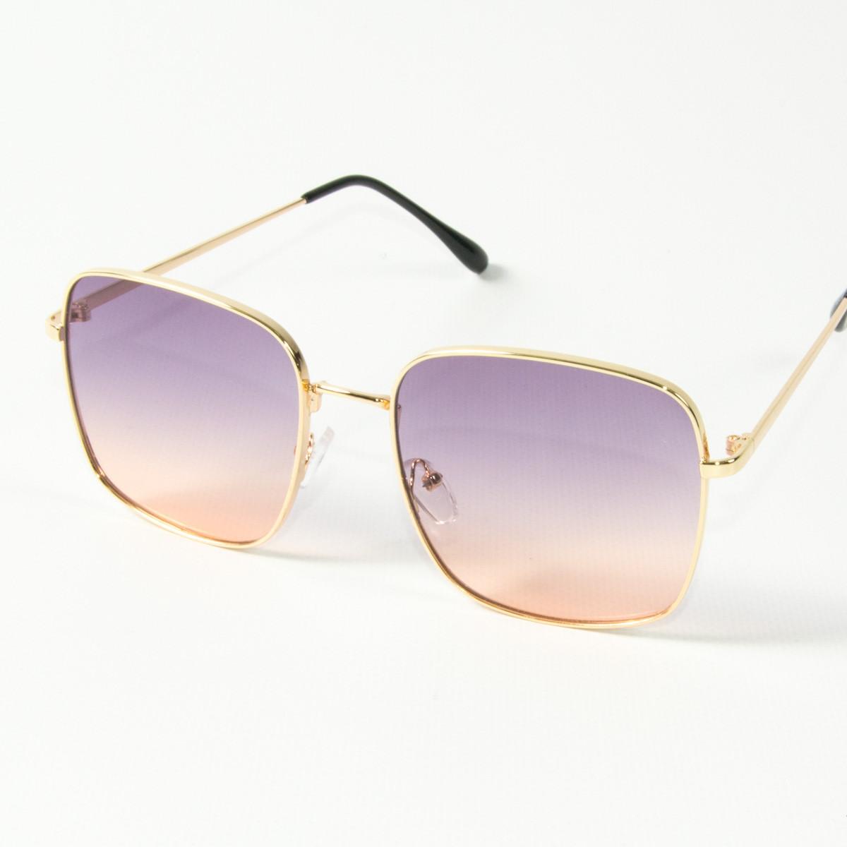 Оптом квадратные  солнцезащитные очки (арт. 80-661/3) фиолетово-розовые