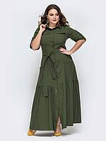 Весеннее Платье-рубашка хаки длинное 50-52 54-56 58-60 62-64