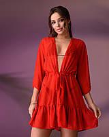 Туника пляжная короткая с воланом 201, цвет - красный.