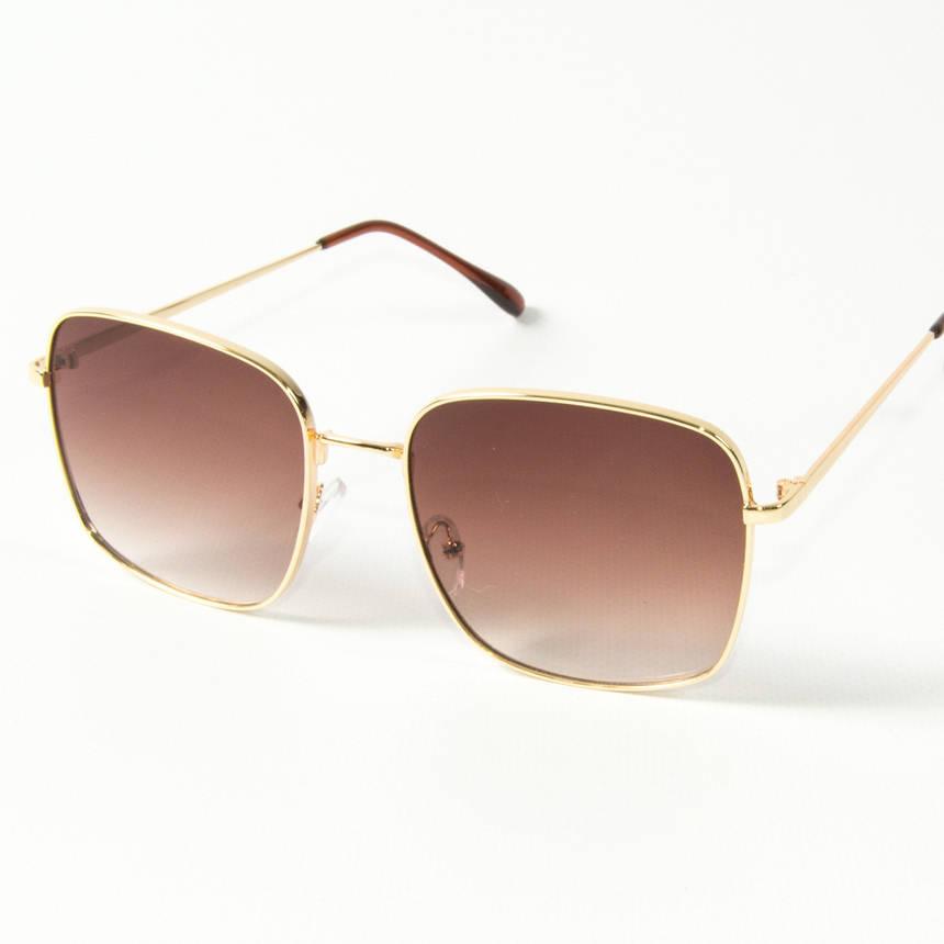 Оптом квадратные  солнцезащитные очки (арт. 80-661/4) темно-коричневые, фото 2