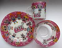 Детский набор стеклянной  посуды для кормления Лол (Lol) 3 предмета