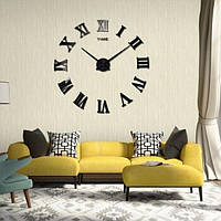 Часы 3D настенные WOW кварцевые Римские Черные 100 см