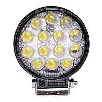 Фара LED круглая 42W (широкий луч) 3D линза, фото 1