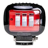 Фара LED прямоугольная 30W (3 диода) red, фото 1