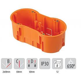Подрозетник на 2 места 136x60x60 Pawbol A.0042WPG (коробка установочная углубленная, кирпич/бетон)