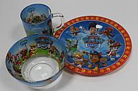 Детский набор стеклянной посуды для кормления 3 предмета Щенячий патруль
