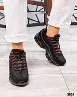 """Кроссовки женские  """"N@ке""""  черные с красным, фото 1"""
