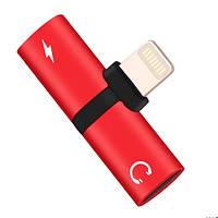 Lightning сплиттер компакт 1x2 наушники+зарядка для Apple Iphone 7, 8, 10
