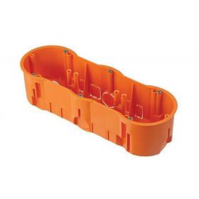 Подрозетник на 3 места 204x60x60 Pawbol A 0043WPG (коробка установочная углубленная, кирпич/бетон)