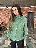 Рубашка женская вельветовая, олива, графит, джинс, фрез, фото 7