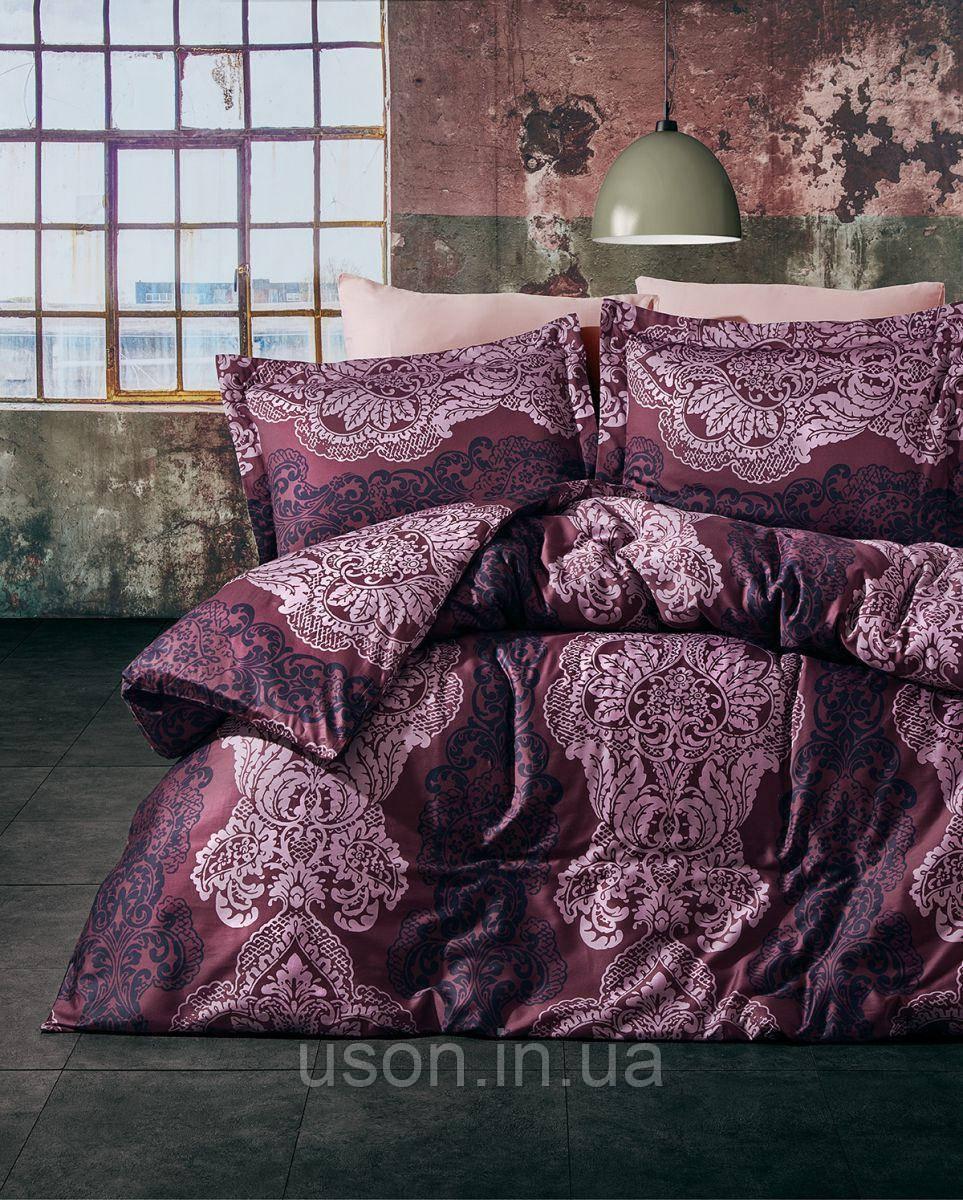 Комплект постельного белья TM Nazenin сатин размер евро Lexy bordo