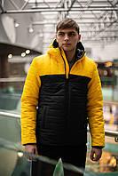 Куртка мужская демисезонная осенняя весенняя утепленная черно-желтая Intruder TEMP