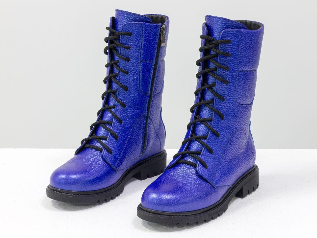 Ботинки из натуральной кожи флотар ярко-синего цвета, на шнурке и на утолщенной подошве черного цвета 36-41р.